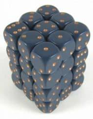 6 Vlakken Dobbelsteen Blauw met Gouden Stippen 12mm