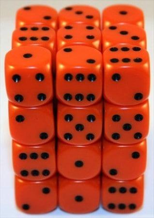 6 Vlakken Dobbelsteen Oranje met Zwarte Stippen 12mm