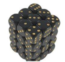 6 Vlakken Dobbelsteen Zwart met Gouden Stippen 12mm
