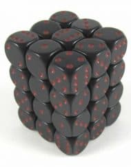 6 Vlakken Dobbelsteen Zwart met Rode Stippen 12mm