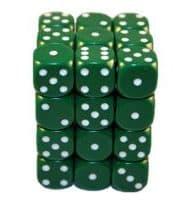 6 Vlakken dobbelsteen Groen met Witte Stippen 12mm