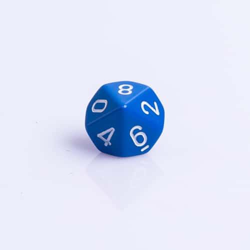 10 Vlakken Dobbelsteen Donker Blauw met Witte Getallen 16mm