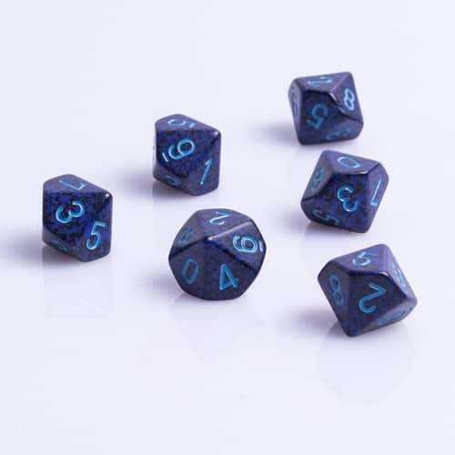 10 Vlakken Dobbelsteen Speckled Cobalt 16mm