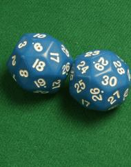30 Vlakken Dobbelsteen Blauw met Witte Cijfers 35mm