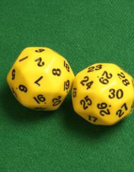 30 Vlakken Dobbelsteen Geel met Zwarte Cijfers 35mm