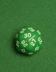 30 Vlakken Dobbelsteen Groen met Witte Cijfers 35mm dertig zijdes kanten