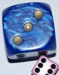 6 Vlakken Dobbelsteen Blauw met Goude Stippen 36mm