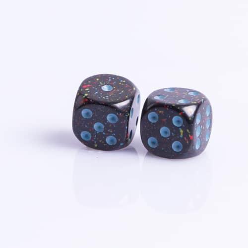 6 Vlakken Dobbelsteen Blue Stars™ 16mm Set