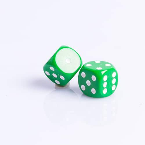6 Vlakken Dobbelsteen Groen met Witte Stippen 16mm set