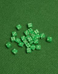 6 Vlakken Dobbelsteen Groen met Witte Stippen 5mm