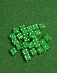 6 Vlakken Dobbelsteen Groen met Witte Stippen 8mm