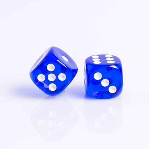 6 Vlakken Dobbelsteen Transparant Blauw 16mm Set