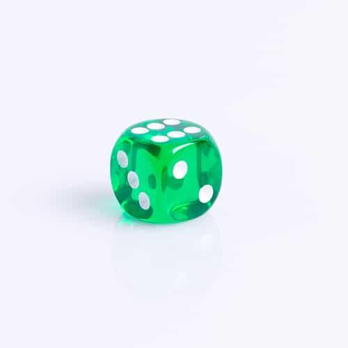 6 Vlakken Dobbelsteen Transparant Groen 16mm dobbelstenen kopen