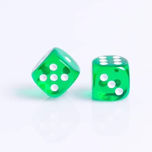 6 Vlakken Dobbelsteen Transparant Groen 16mm set dobbelstenen kopen