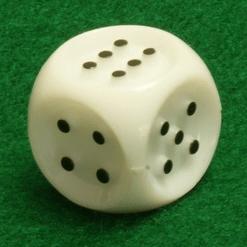 6 Vlakken Dobbelsteen Wit met Zwarte Stippen 20mm Tactile closeup
