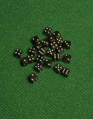 6 Vlakken Dobbelsteen Zwart met Witte Stippen 5mm
