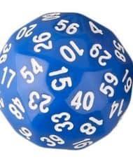 60 Vlakken Dobbelsteen Blauw met Wit 35mm D60