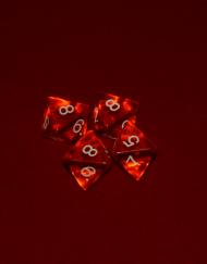 8 Vlakken Dobbelsteen Transparant Oranje met Witte Getallen 16mm 8 zijdige dobbelsteen D8