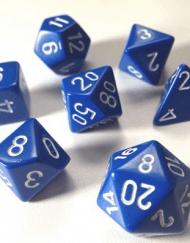 Polydice 7 Dobbelstenenset Donker Blauw met Wit dungeon dragons dice kopen dobbelstenen