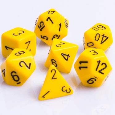 Polydice 7 Dobbelstenenset Geel met Zwart D&D Dice Dungeons and Dragons RPG