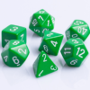 Polydice 7 Dobbelstenenset Groen met Wit D&D Dice Dungeons and Dragons RPG