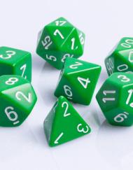 Polydice 7 Dobbelstenenset Groen met Wit D&D Dice Dungeons and Dragons RPG