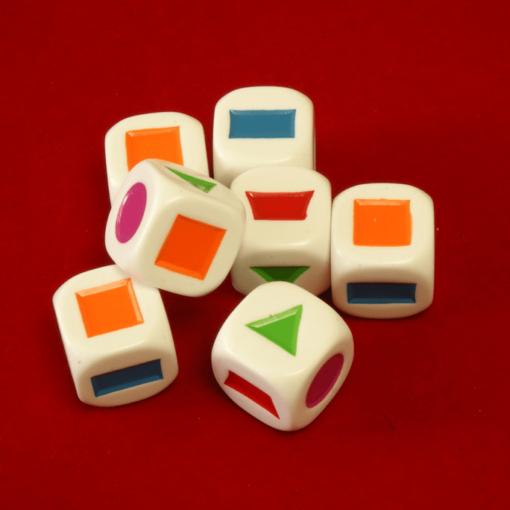6 Vlakkendobbelsteen Kleurendobbelsteen 22mm