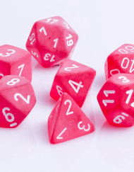 Polydice 7 Dobbelstenenset Frosted Red White D&D Dice Dungeons and Dragons RPG