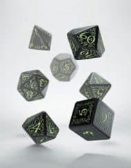 Polydice 7 Black & Glow in the Dark Elvish Q-Workshop