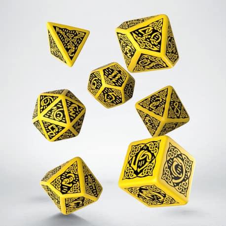 Polydice 7 Dobbelstenenset Celtic Yellow Black Q-Workshop