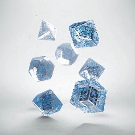 Polydice 7 Dobbelstenenset Transparent & Blue Elvish Q-Workshop