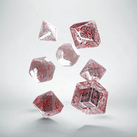 Polydice 7 Dobbelstenenset Transparent & Red Elvish Q-Workshop