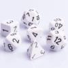 Polydice 7 Dobbelstenenset Wit met Zwart D&D Dice Dungeons and Dragons RPG DICE