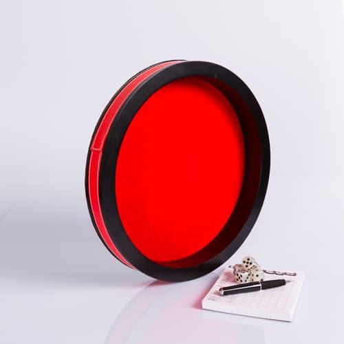Dobbelpiste Dobbelbak Rond Rood Vinyl met Rood Vilt 30cm waar te koop