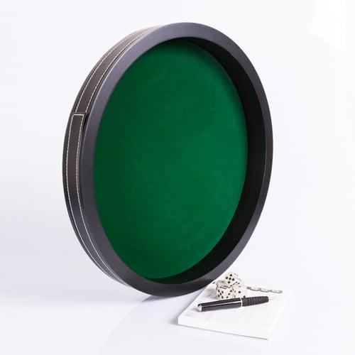 Dobbelpiste Dobbelbak Rond Zwart Vinyl met Groen Vilt 34cm waar te koop