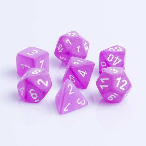Polydice 7 Dobbelstenenset Frosted Purple White