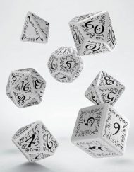 Polydice 7 Dobbelstenenset White Black Elvish Q-Workshop