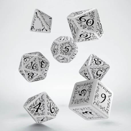 Polydice 7 Dobbelstenenset White Black Elvish Q-Workshop