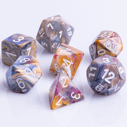 Polydice 7 Dobbelstenenset Festive Carousel Wit D&D Dice Dungeons and Dragons RPG