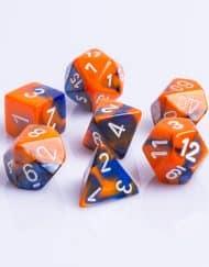Polydice 7 Dobbelstenenset Gemêleerd Blauw Oranje met Wit