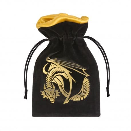 Dice Bag Dragon Black & Golden Velour Q-Workshop