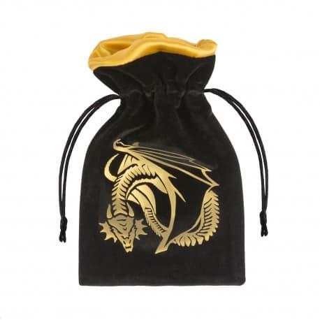 Dice Bag Dragon Black & Golden Velour Q-Workshop