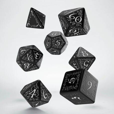 Polydice Set Q-Workshop Elvish Black & White