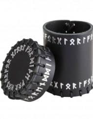 Dobbelbeker Runic Black Leather Dice Cup Q-Workshop d&D dice opbergen