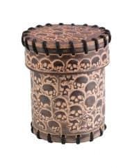 Dobbelbeker Skully Beige Leather Dice Cup Q-Workshop