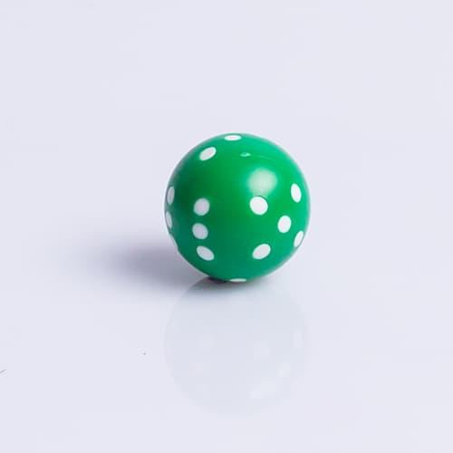 Ronde Dobbelsteen 22mm Groen met Wit