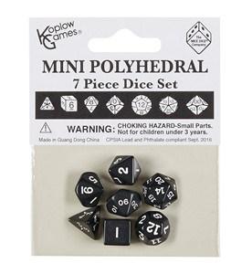 Polydice 7 Dobbelstenenset Mini Zwart met Wit kopen