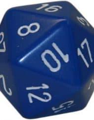 20 Vlakken Dobbelsteen Blauw met Witte cijfers 34mm
