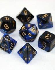 Polydice 7 Dobbelstenenset Gemêleerd Zwart Blauw met Goud