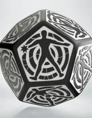 12 Vlakken Hit location Dice 30mm Black White